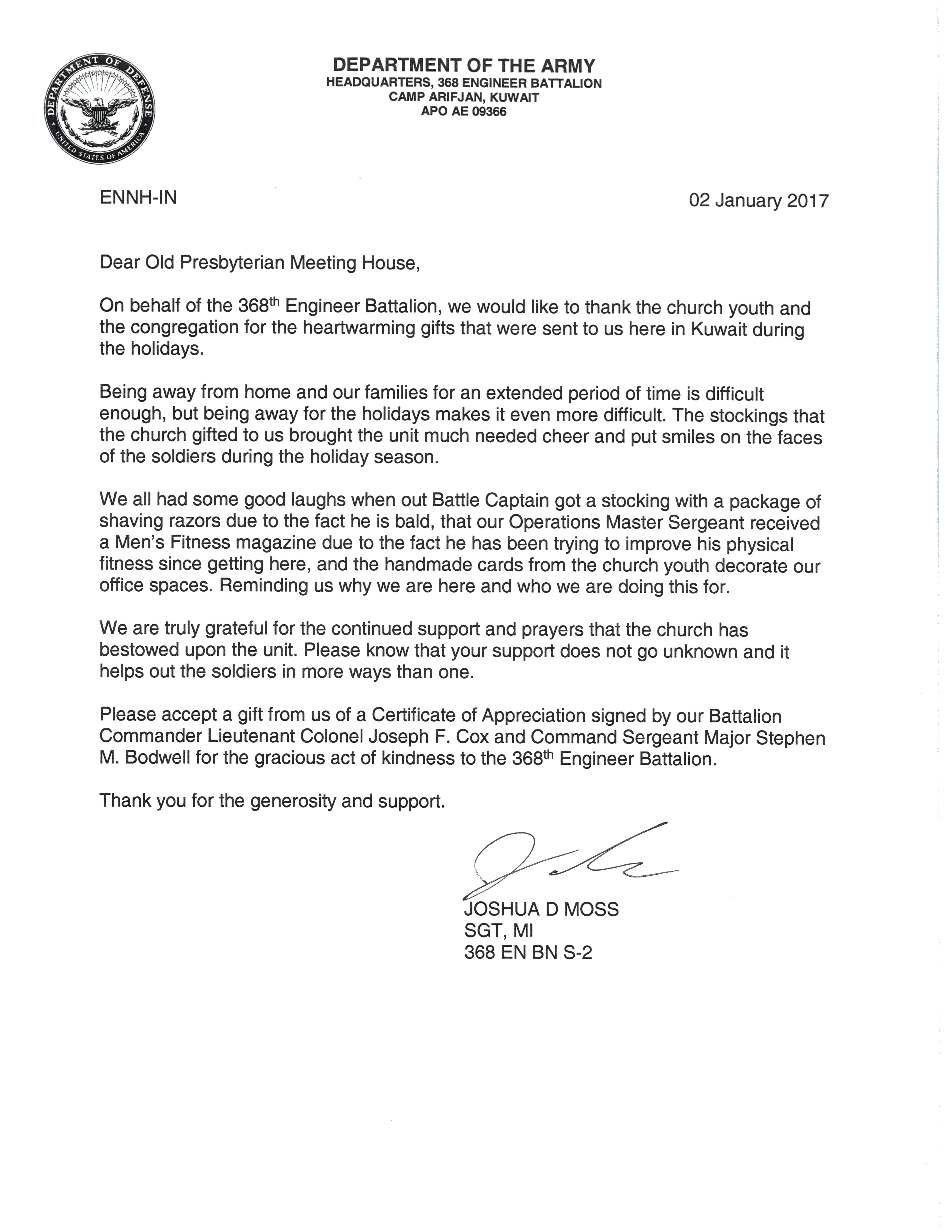 Letter from the Navy's 368th Engineer Battalion