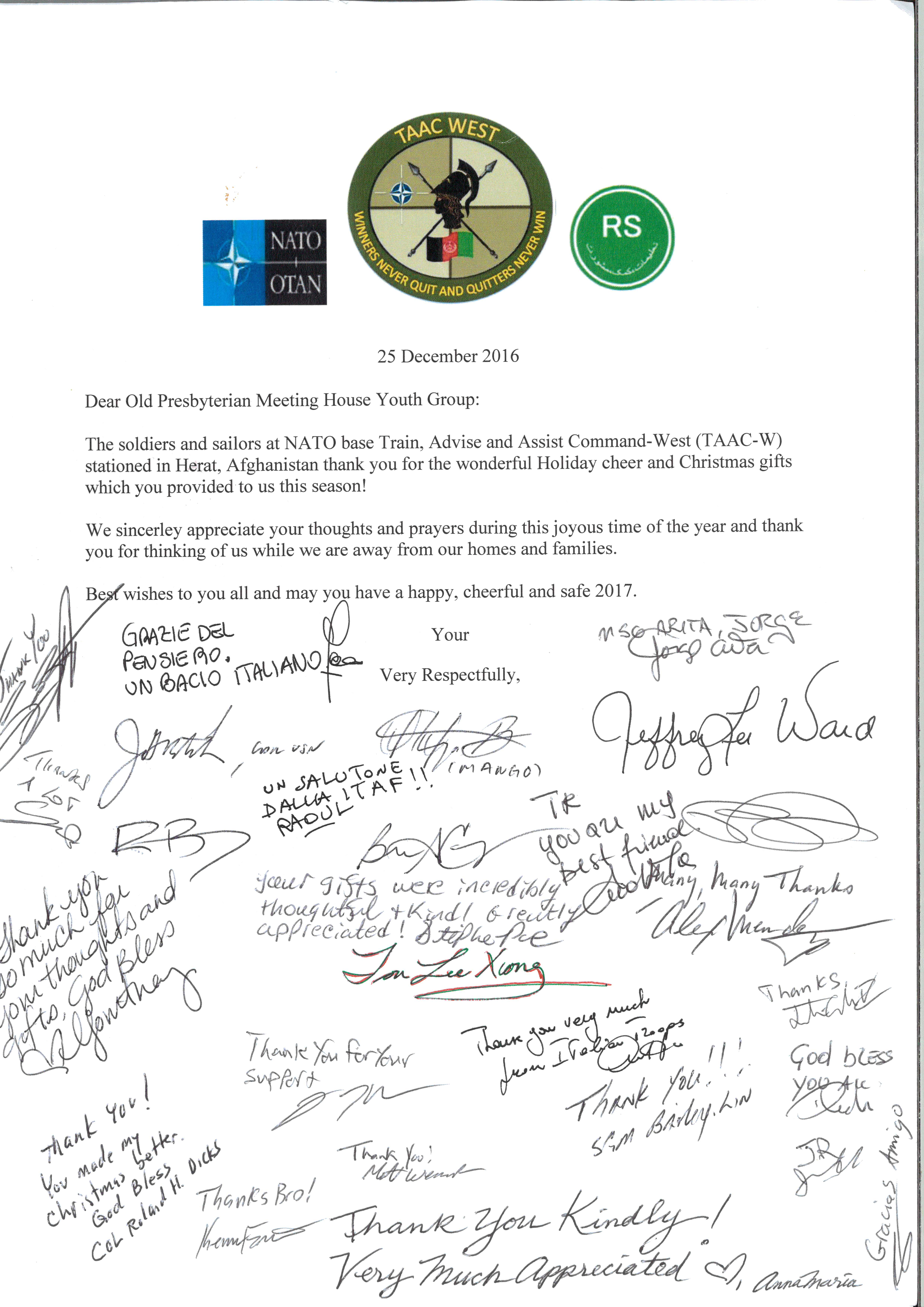 Letter from NATO TAAC-W