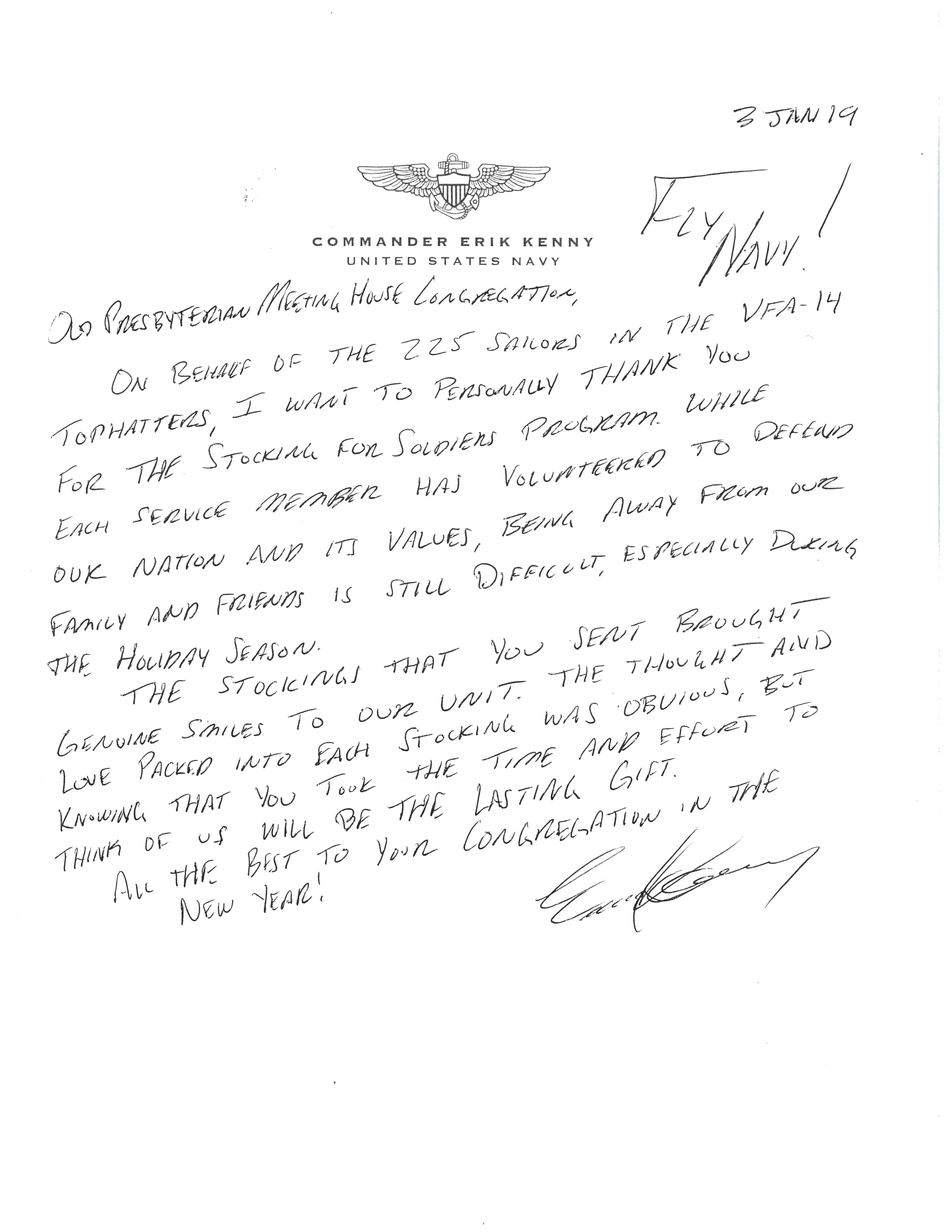 Letter from Navy Cmdr. Kenny