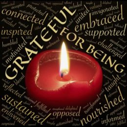 Red candle burning surrounded by words of gratitude (image courtesy of johnhain (pixabay.com)